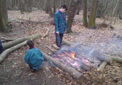 Campfire relit for breakfast.